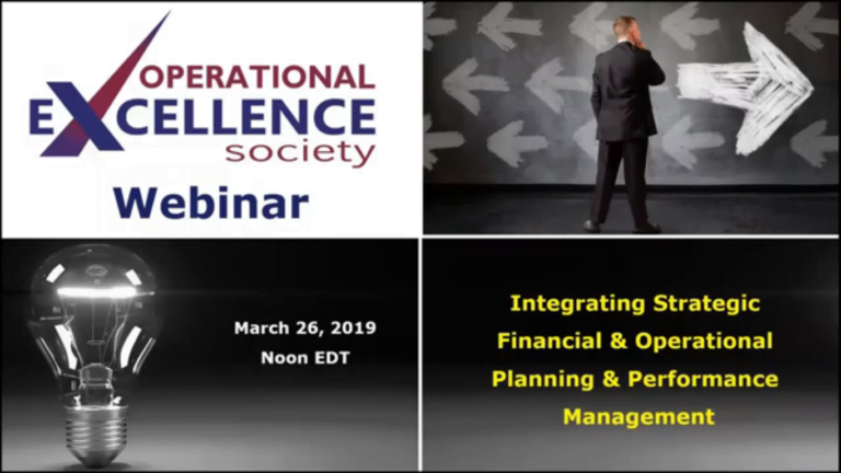 Operational Excellence Webinar Series – Strategic Financial and Operational Performance Management