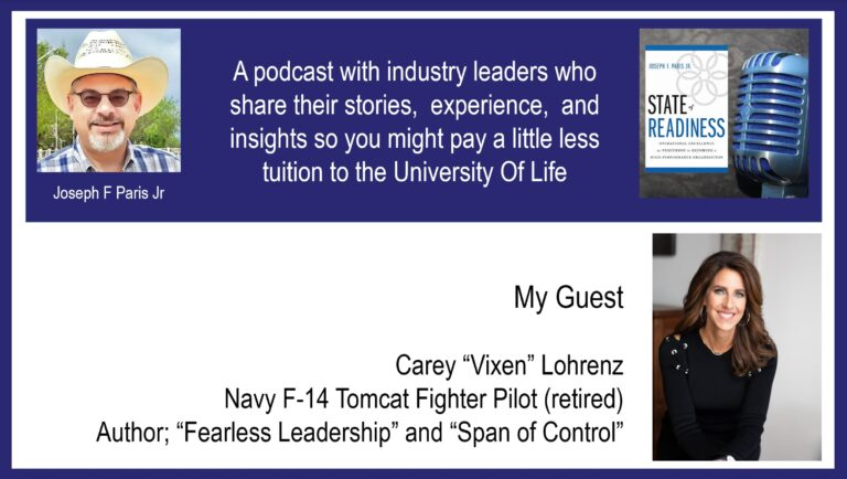 "State of Readiness; Carey ""Vixen"" Lohrenz, US Navy F-14 Fighter Pilot and Author"